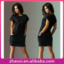 In stock loose solid color women clothes one-piece short sleeve garment dress