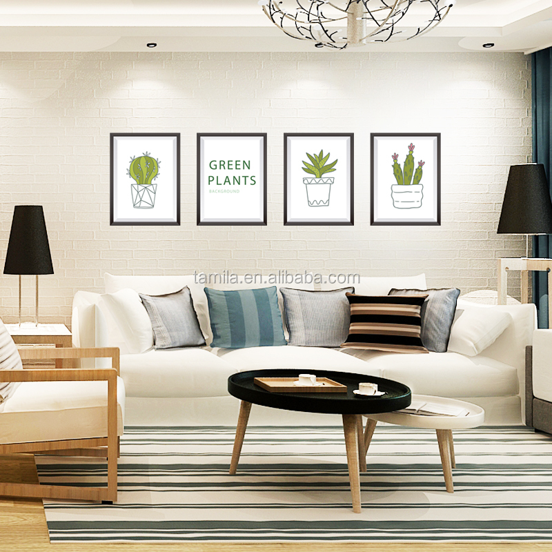 cactus succulent plant Photo frame drawing DIY TV background living room decor wall sticker self adhesive wall decal
