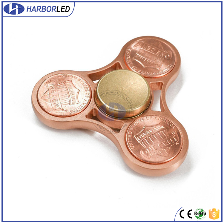 Cent Tri-Spinner Fidgets Toy Aluminum Alloy Metal EDC Sensory Fidget Spinner Hands bearing Adult Funny Anti High Speed