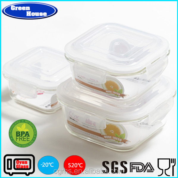 Microwave Oven High Borosilicate Glass Takeaway Lunch Box Food Container Square