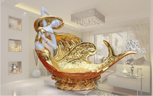 home decoration craft figurine beauty mermaid shape resin fruit plate
