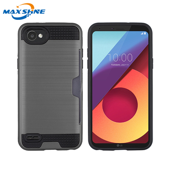 Maxshine dual layer shock proof for LG Q6 case, phone case with card holder for LG Q6 phone case anti shock