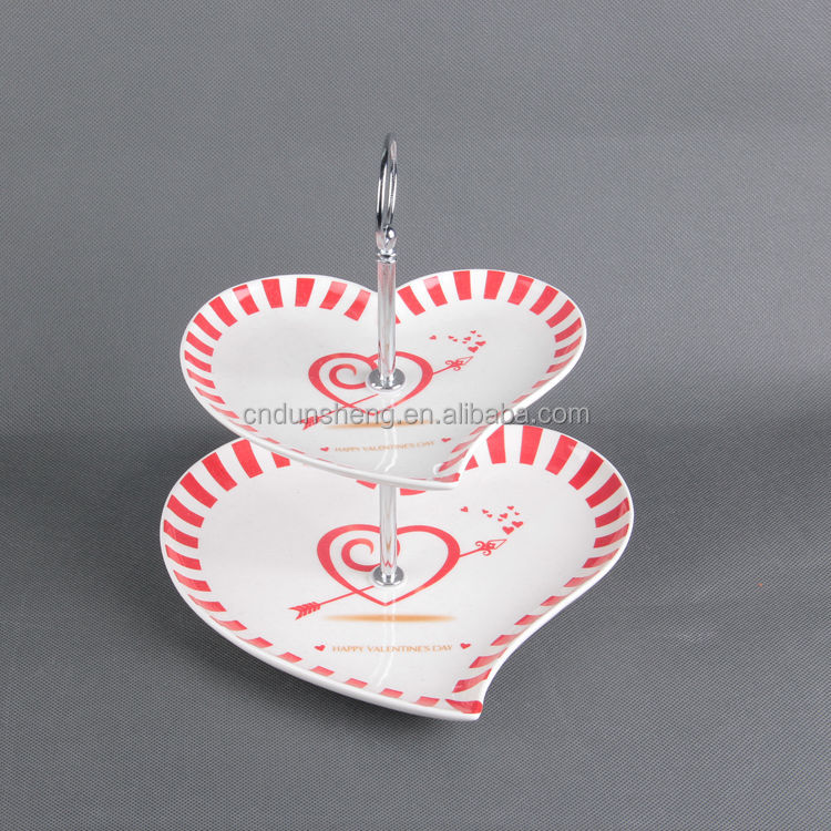 New Arrival Heart Shaped Bone China Two Tiered Fruit Platter Ceramic Cake Stands