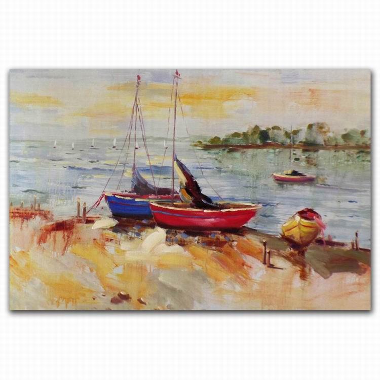 sailing boat and beach scenery oil painting on canvas wholeseller