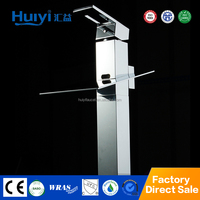 High standing chrome plated cheap waterfall bathroom faucets with led lights HY-MP002B