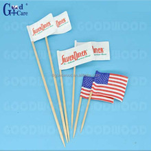 high quality natrual compostable wooden flag picks falg skewers