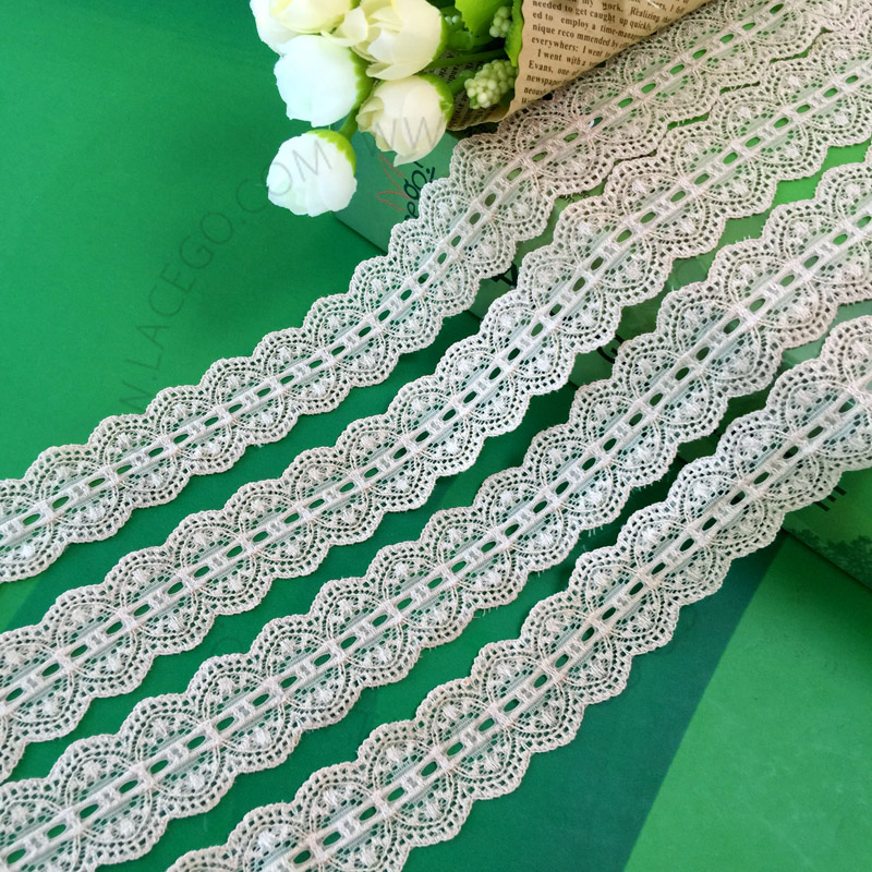 <strong>Fashion</strong> double Scalloped Edged mesh stretch lace trim 3.5cm