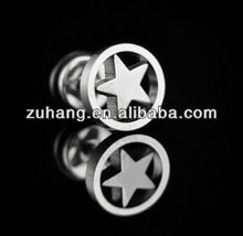 Studs Steel Fake Plug Piercing Barbell Pentagram Body Jewelry Ear Tunnel