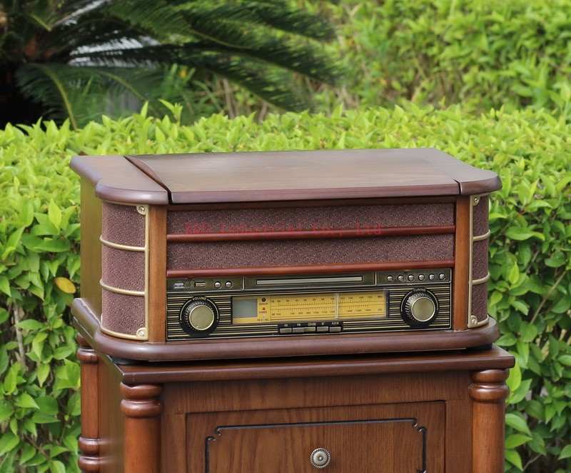 OEM Antique USB wood lp turntable player with rca out aux in AM FM Radio