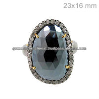 14k Yellow Gold Pave Diamond Black Spinel Gemstone Ring