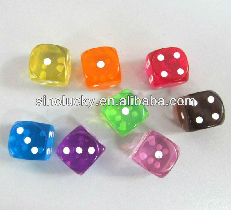 16 x 16mm, Board Game Pieces,Acrylic Transparent Colorful Dices,
