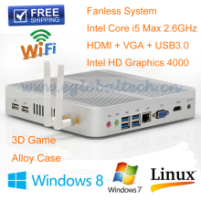 Stable 12V fanless 4K mini pc i5 4200u with Core i5 4200U 1.6Ghz CPU Haswell Architecture SOC design aluminum chassis Car PC