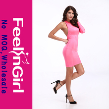 alibaba instock guangzhou bandage dress evening dress pink