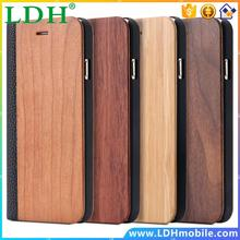i6 /6S /Plus Luxury Real Natural Wood + PU Leather Hard Case for Apple iPhone 6 /6S for iPhone 6 Plus /6S Plus Flip Stand Cover