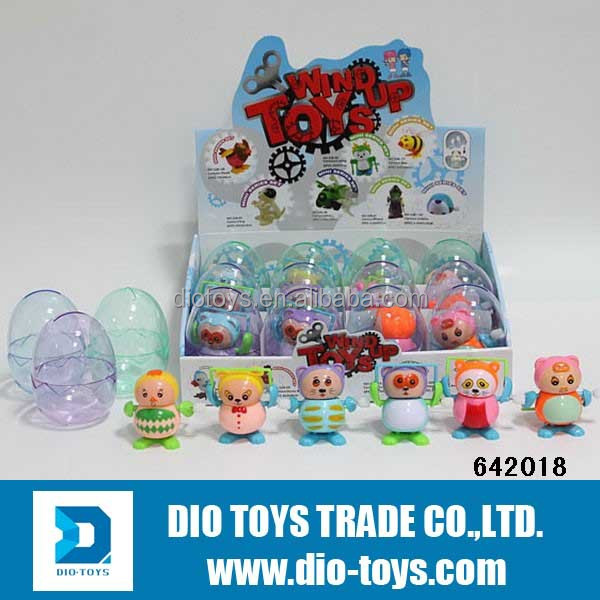 Cartoon Wind UP Plastic Egg Surprises Toys