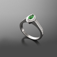 SJVR135 SJ Radiant Green Marquise Cubic Zirconia Double Prong Setting Oval Shape Evil Eye Half Women Bridal Wedding Ring