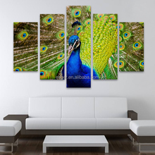 Yes Frame Art Print 5 Panel Peacock Painting on Canvas