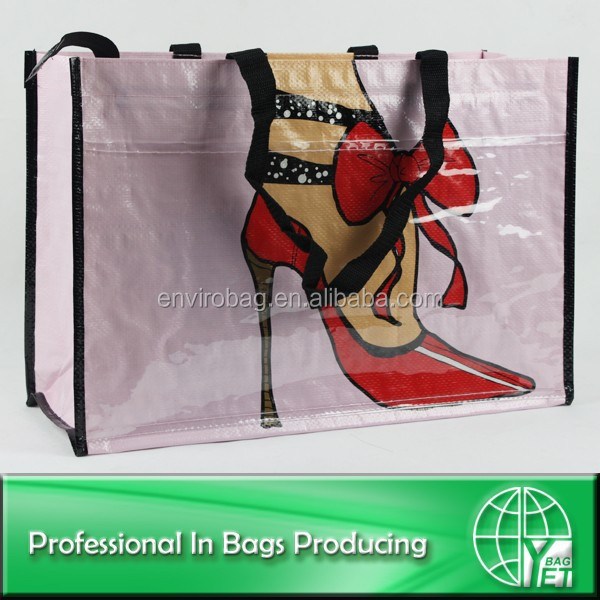 Promotional PP woven large zipper shopping bag