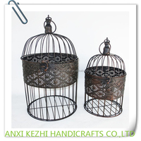 KZ150264 Ancient Set of two Wrought Iron Metal Hanging Round Birdcage