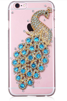 Latest Product Plastic Peacock Crystal bling diamonds case for iphone 6, phone case for Iphone 6P