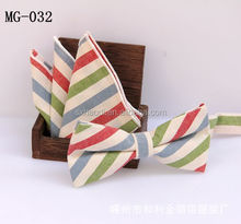 MG 32 Stripped cotton bowtie and pocket square set
