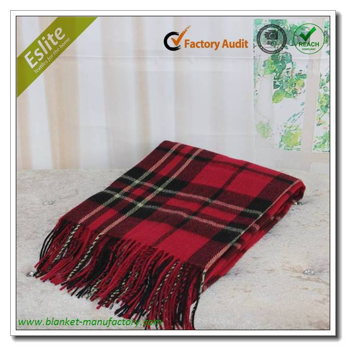 Jacquard Thin Plaid Wool Throw Blanket With Fringes