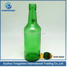 340ml green glass bottle for soju, glass green bottle used for arrack