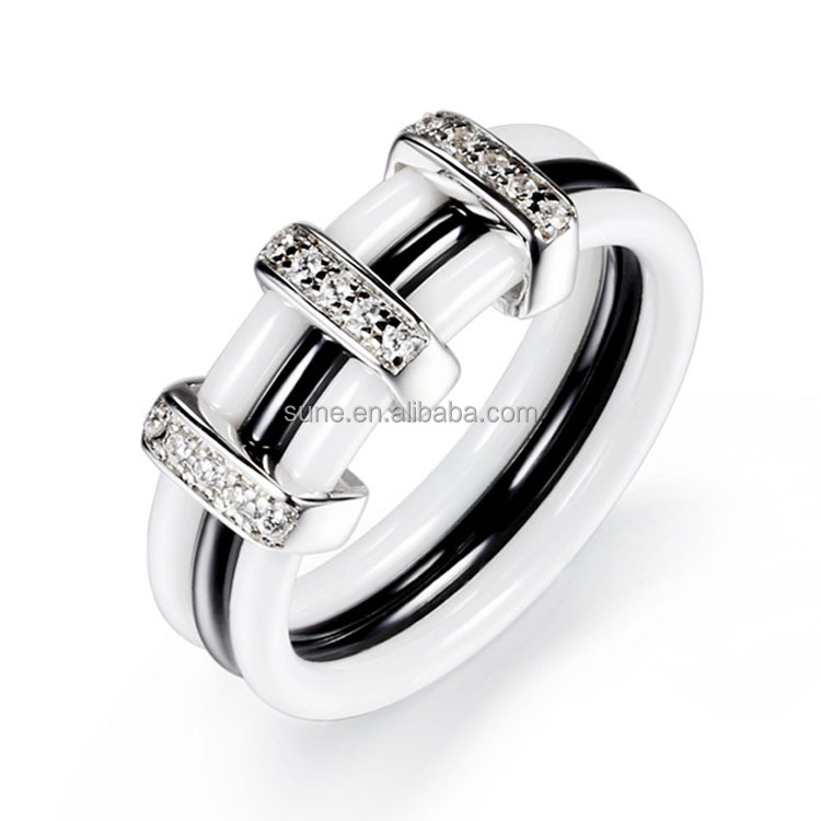fashion gothic engagement rings black and white ceramic ring stering silver inlay wedding band set with <strong>diamonds</strong>