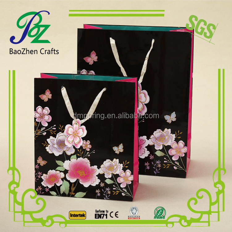 Luxury custom print bag 3d flower paper shopping bag with handle