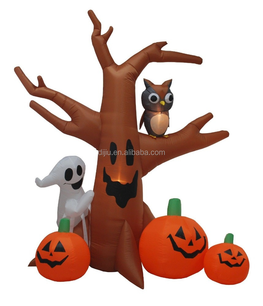 Outdoor Inflatable Halloween Led lighted dead tree with Pumpkin and Ghost for Yard decoration