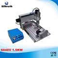 6040V 1.5KW 4axis CNC milling drilling machine with VFD limit and 1.5KW VFD water cooling spindle for wood metal stone cutting