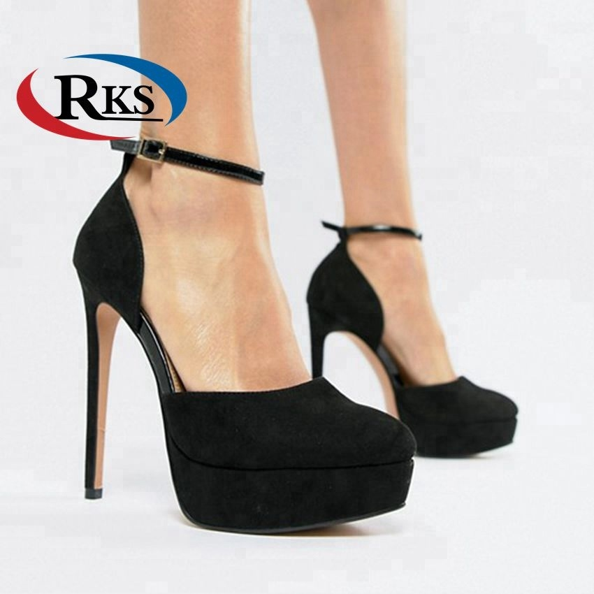 Fashion Party Wear Black Suede High Heel Platform Shoes Women