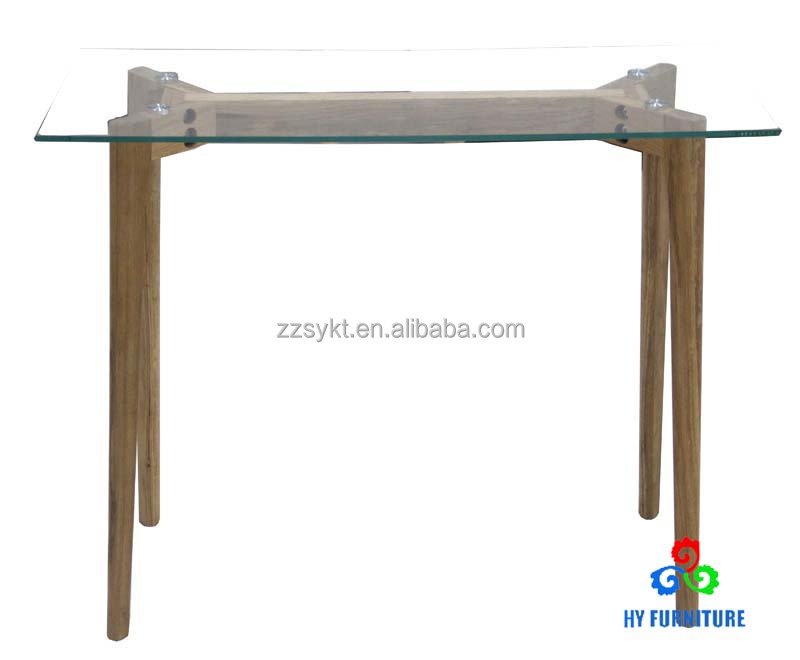 New Cheap Tempered Glass Coffee Table with wooden legs wholesale