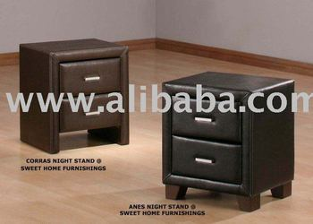 Agnes Bedroom Set, Bedroom Furniture, Leather Bed, Leather night stand