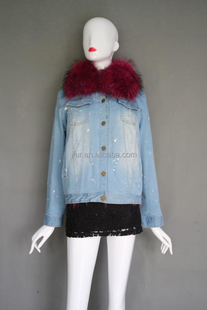 New Style Large Raccoon Fur Collar Woman Clothing Winter Coat Women's Fox Fur Parkas Jeans