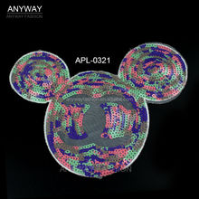 Mickey Mouse pattern embroidery sequin applique from china