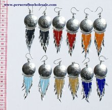 Ethnic Alpaca Round Earrings Indian South American Inca Jewelry Peruvian Design Wholesale