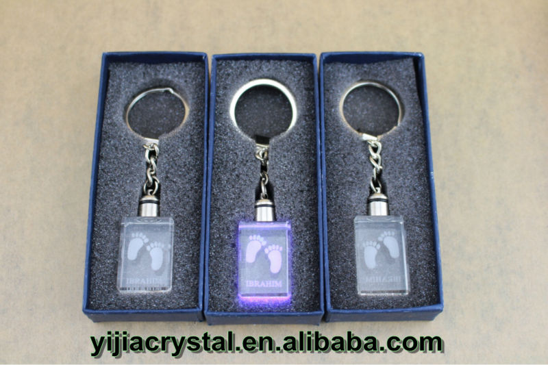 Beautiful Crystal Glass Keychain with Inner Laser Engraving Customized Images for Baby Christening Gifts,K9 Crystal Key Holders