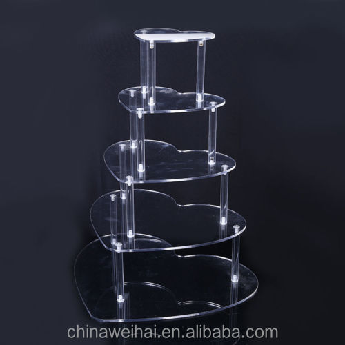 5 TIER LIGHTED HEART ACRYLIC CUPCAKE PARTY WEDDING CUP CAKE DISPLAY SHOW STAND