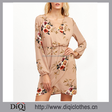 New arrival stylish design sexy Ladies Nude Florals Elastic Waist Wrap Dress