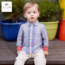 DB3287 dave bella 2016 spring baby boys fashionable tartan cotton baby tops baby shirts
