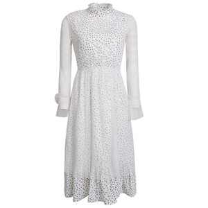 f1c4fea2628 2019 summer new fashion women trumpet sleeves dot print chiffon ladies white  lace casual dress