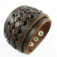 Gents Criss Cross Leather Wide Cuff Bracelet - Mens Jewellery by Opouriao