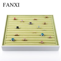 FANXI Fashionable White Lacquer Green Velvet Insert Jewelry Display Shop Counter Ring Holder Exhibitor Tray Velvet Ring Tray