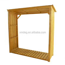 Wooden firewood place storage and wood garden shed