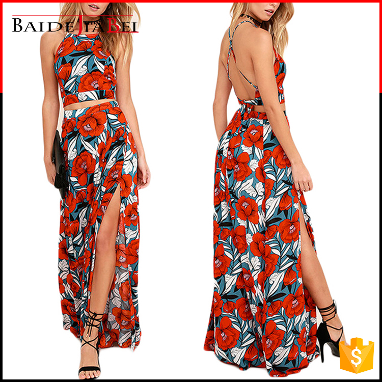 Sexy fresh beach style top adjustable shoulder strap and lace high waist long skirt red flower print two-piece backless dress