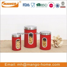 Red enamel coffee bean storage metal food canister for kitchen