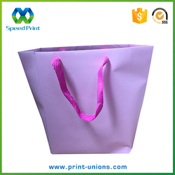 Matt surface stylish paper bag pink custom cloth shopping paper bag