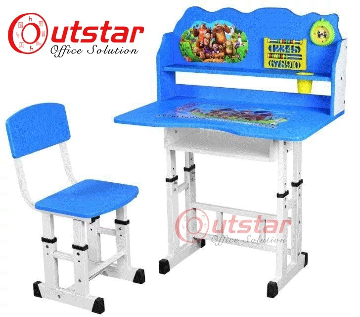 Cartoon pattern Children studying desk and chair school furniture