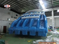 Popular 4 lane inflatable water slide for steel pool, Beach water slide prices